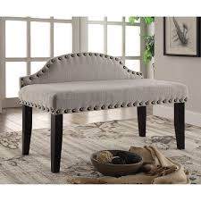 Overstock Bedroom Benches Furniture Of America Emira 42 Inch Flax Upholstered Accent Bench