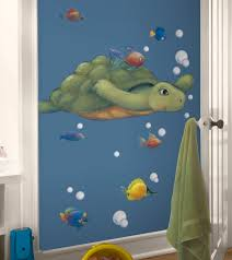 Fish Nursery Decor Bathroom Decor Sea Turtle With Tropical Fish Large Self