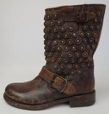 short motorcycle boots frye jenna disc short antiqued leather women studs brown boots