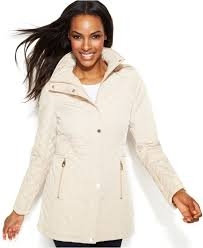 calvin klein hooded quilted jacket in white lyst