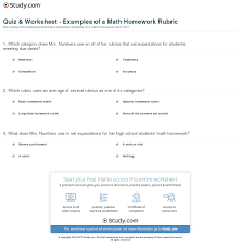 quiz u0026 worksheet examples of a math homework rubric study com