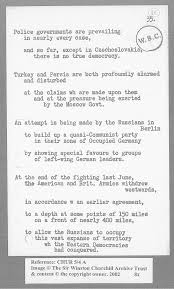 Iron Curtain Speech Source 6 Extract From Churchill U0027s Notes For The Iron Curtain Speech