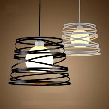 Black Ceiling Light Shade Simple Iron Spiral Pendant L Light Shade 32cm Black White For