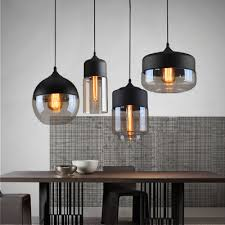 Hanging Lamps For Kitchen Loft Vintage Pendant Light Art Glass Black White Gray Lampshade