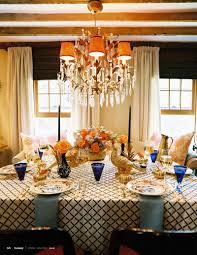 thanksgiving table lonny magazine eddie ross gold turkeys blue and