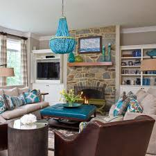 turquoise and brown living room ideas white u shaped fabric comfy