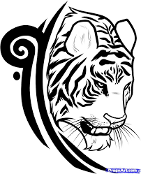black and grey bengal tiger tattoo design