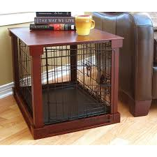 dog kennel side table wooden pet crate and side table by merry products medium brown