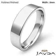 Platinum Comfort Fit Wedding Band 5mm Platinum Comfort Fit Men Wedding Band Flat Pipe Cut Matte Ring