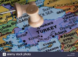 Map Of Turkey And Syria by Close Up Of A World Map Focused On The Country Of Turkey As A