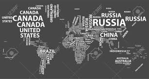 world map political with country names free vector world map with country names in typography royalty free