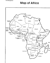 africa map with country label coloring pages education simple