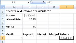 Formula Credit Card Minimum Payment How To Create Credit Card Payment Calculator Excel Easyli Debt