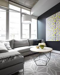 contemporary condo living room with gray sofa geometric area