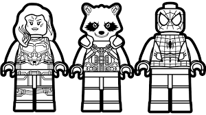 lego spiderman vs lego rocket raccoon vs lego gamora coloring book