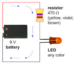 a schematic with a 9v battery 470 ohm resistor and a single led