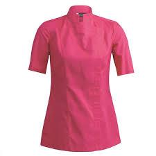 clement veste cuisine veste de cuisine femme manches courtes carré sienne fuschia clément