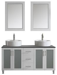 tuscany double vanity white vessel sink mirror included 60