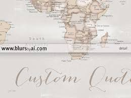 Rio On World Map Personalized Print Rustic World Map With Cities In Distressed
