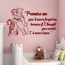 online get cheap pooh wall quotes aliexpress com alibaba group wall decals quote promise me you ll never forget me winnie the pooh tigger vinyl sticker baby nursery murals home decor m 60
