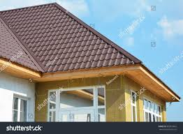 roofing construction house wall repair renovation stock photo
