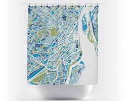 Map Montreal Canada by Montreal Map Shower Curtain Canada Shower Curtain Chroma