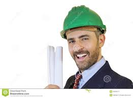 man wearing a safety helmet holding blueprints stock image image