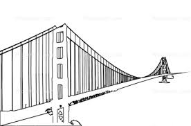 golden gate bridge outline line drawing shape images