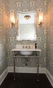 Ideas For Small Powder Room - 15 stunning bathroom wallpaper design ideas silver framed mirror