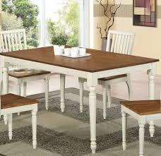 Dining Table White Legs Wooden Top White Stained Oak Rectangle Dining Table With Brown Wooden Top