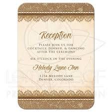 reception card wedding reception card rustic burlap lace wood