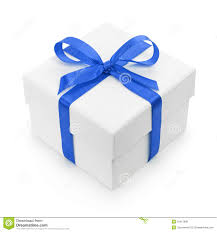 gift box with ribbon white textured gift box with blue ribbon bow royalty free stock