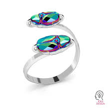 silvexcraft double ring swarovski scarab 12mm s ring 015 5728 mm