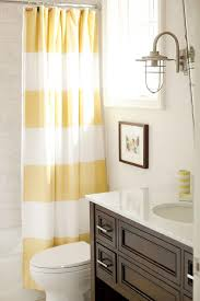 Yellow And White Shower Curtain Yellow And Brown Bathroom With Stripe Shower Curtain