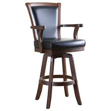 Counter Height Swivel Bar Stools With Arms Wooden Bar Stool With Leather Back And Medium Arms Decofurnish