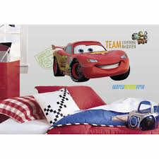 fun race car bedroom decor ideas disney cars lightning mcqueen giant wall decal