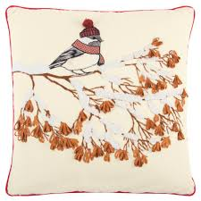 rizzy home winter bird 20 in x 20 in decorative filled pillow