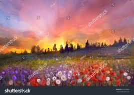 oil painting poppy dandelion daisy flowers stock illustration