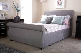 Grey Sleigh Bed Alban Grey 2 Drawer Double Bed Frame Sleigh Bed Frame Bed