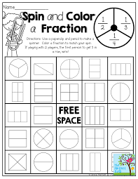 spin and color a fraction tons of hands on and fun printables