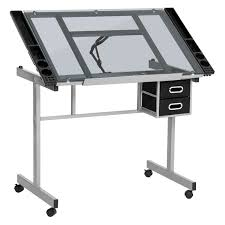 best choice products adjustable tempered glass drafting table with