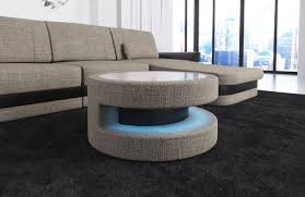 round coffee table side table fabric modena led lighting glass