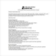 dental assistant job description template u2013 9 free word pdf