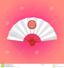flat white color flat style white color japanese style hand fan illustration stock