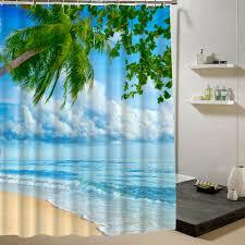 Bad Blau Strand Duschvorhang Palme Sommer Muster Stoff Design 3d Bad