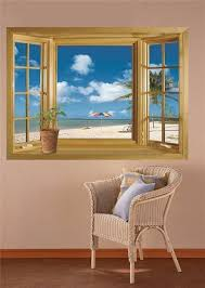 sl home decor 1 x 3d beach window view removable wall stickers vinyl decal home