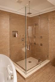 bathroom steam shower design with round built in bathtub under