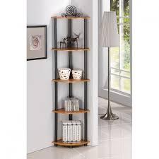Tall Corner Bookshelves by Wooden Tall Corner Shelf Maximize Space With Tall Corner Shelf