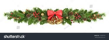 decorative border christmas tree branches holly stock photo