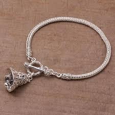sterling silver charm bracelet sound of a bell novica